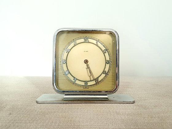 Art Deco Chrome Clock 8 Day 1930s for sale UK