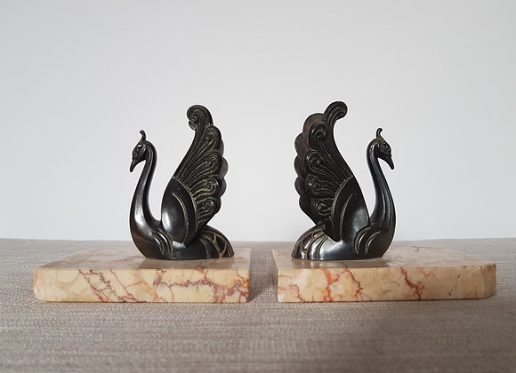 Pair of French Spelter Swan Bookends