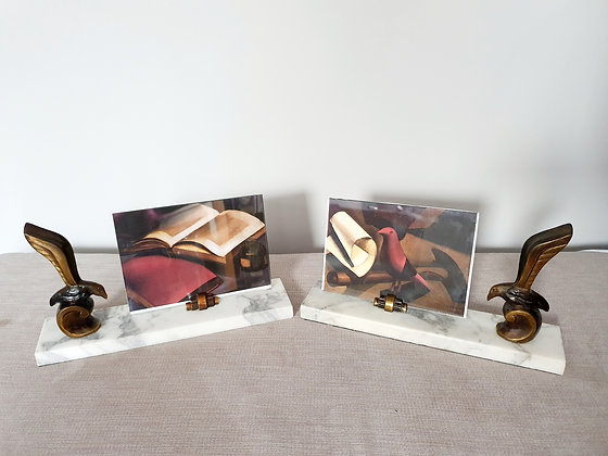 Pair of Stylised Bird Marble Photo Frames
