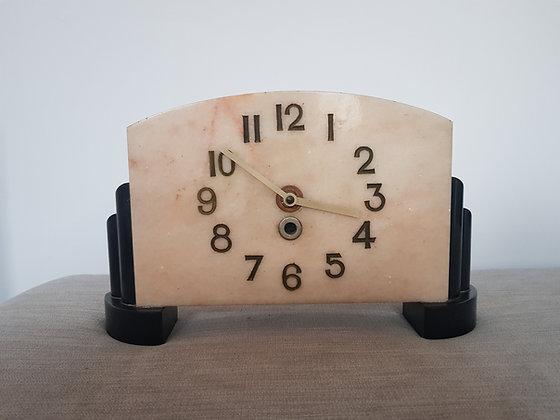 Cream & Black Marble Clock
