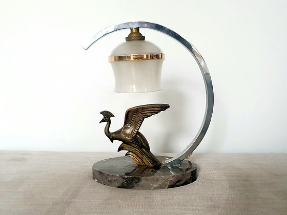 Spelter Peahen Marble Lamp