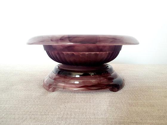 Davidson Amethyst Cloud Glass Bowl, Frog & Plinth