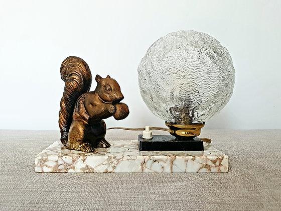 Art Deco Squirrel Lamp Lighting Marble Spelter 1930s for sale UK