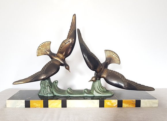 Double Seagull Statue on Marble Plinth