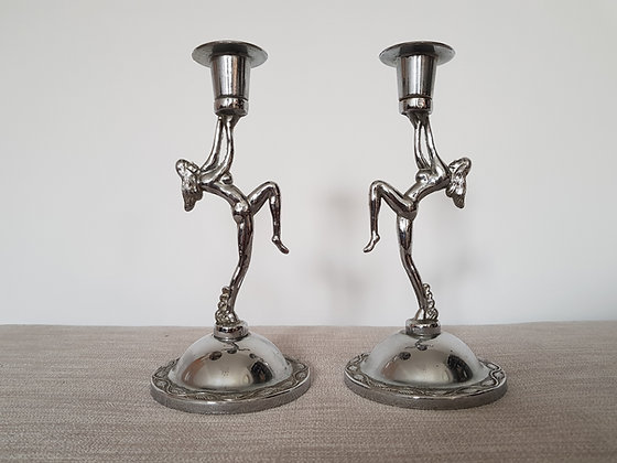 Pair of Chrome Lady Candlestick Holders