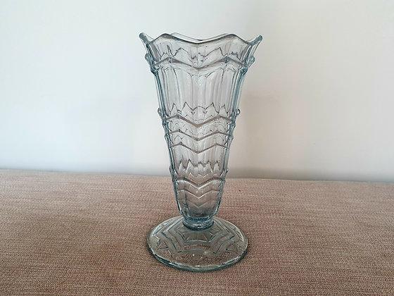 Blue Glass Zig Zag Vase