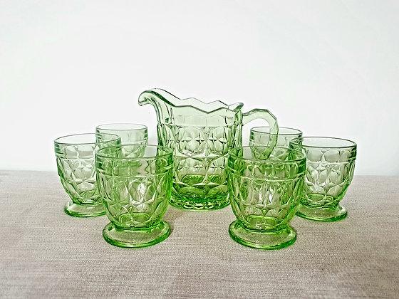 Sowerby Oxford Uranium Glass Lemonade Set