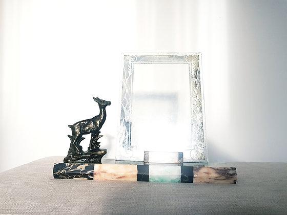 Deer on Black Banded Marble Photo Frame