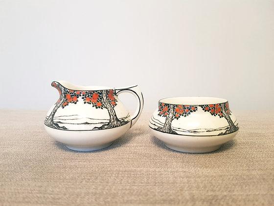 Crown Ducal Orange Tree Milk Jug and Sugar Bowl