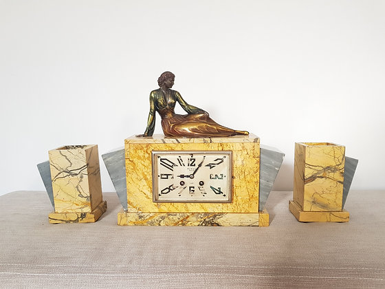 """French """"Just"""" Marble Clock Garniture"""