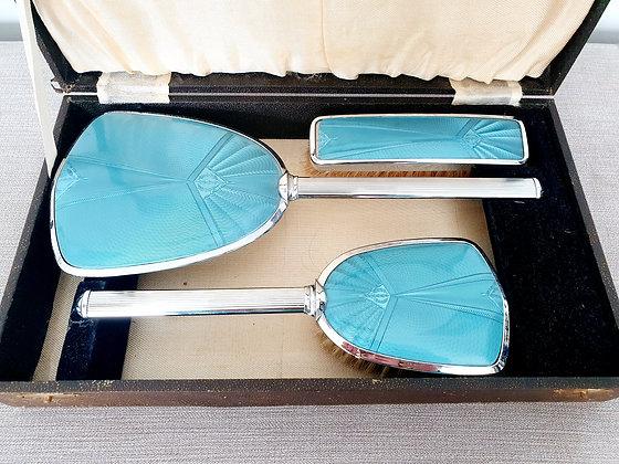 Blue Faux Guilloche Enamel Vanity Set