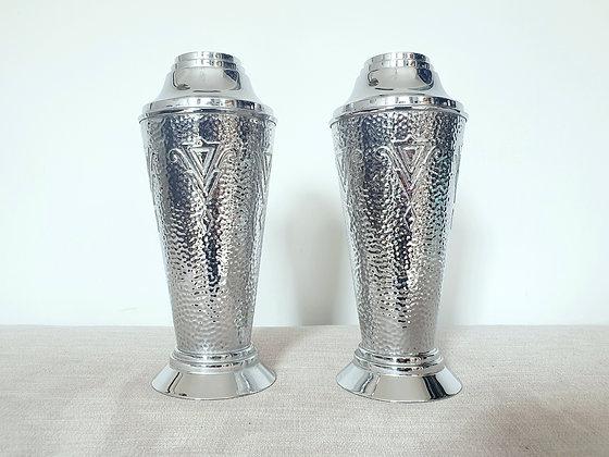 Pair of Hammered Chrome Vases