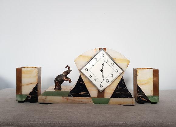 Elephant Marble Clock Garniture