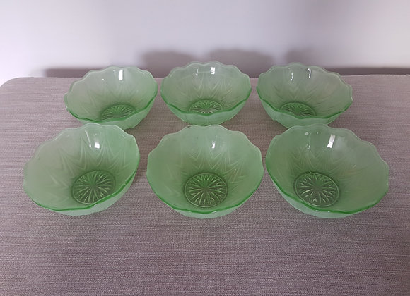 Set of 6 Glass 1930s Bowls