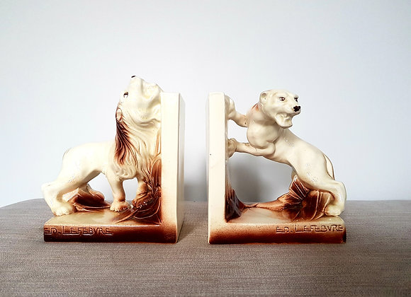 Lefebvre Onnaing Lion & Lioness Bookends