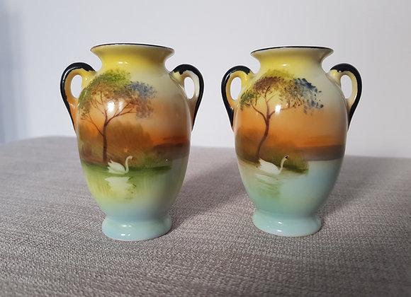 Pair of Noritake Miniature Vases