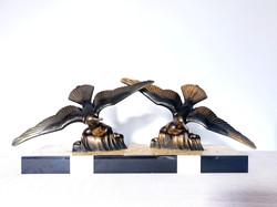 Art Deco Seagulls on Marble Statue