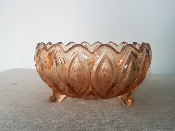 Peach Glass Footed Bowl