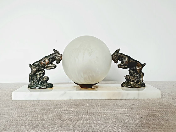 Pair of Rams Marble Lamp