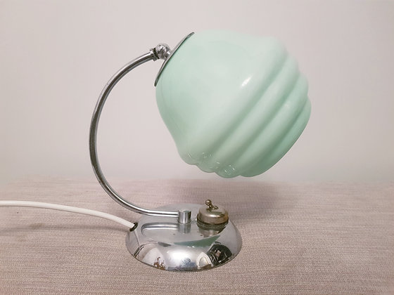 Chrome Crescent Lamp with Beehive Shade