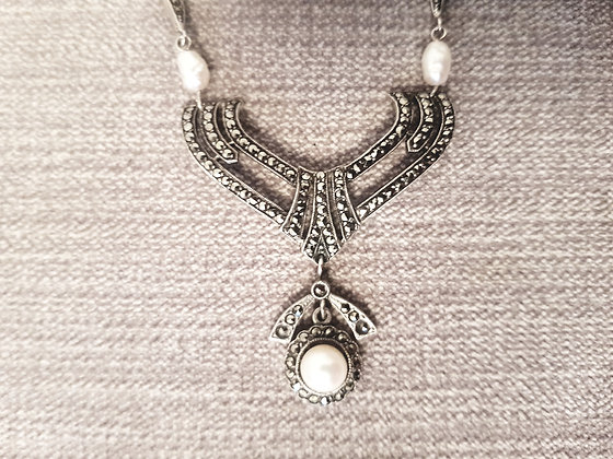 1920s 925 Silver, Marcasite and Pearl Set Necklace