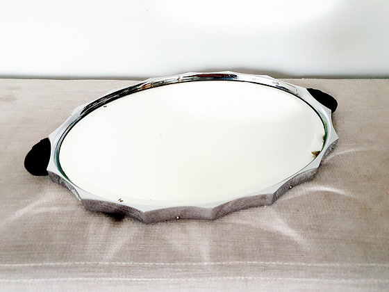 Scalloped Edge Mirrored Cocktail Tray
