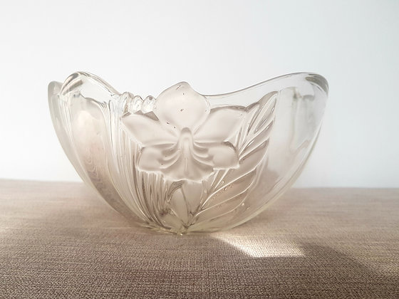 Clear Glass Flower Bowl