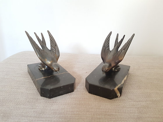 Spelter Swallow Bookends