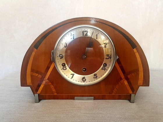 Inlaid Wooden Westminster Chime Mantle Clock