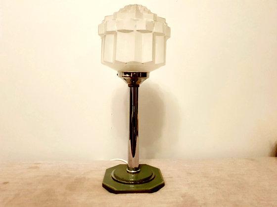 Art Deco Chrome Lamp with Skyscraper Shade