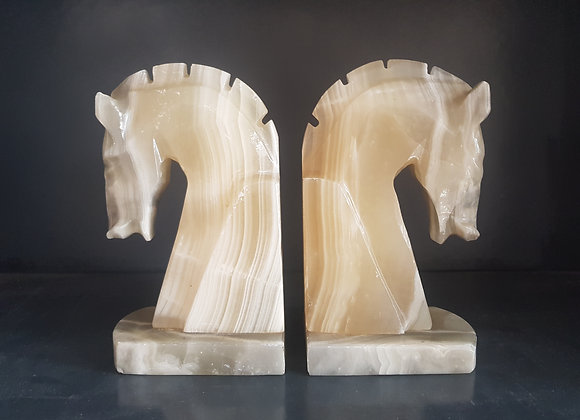 Alabaster Horse Bookends