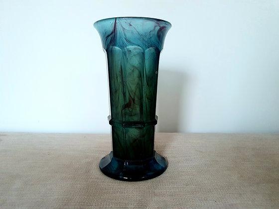 Art Deco Davidson Vase Blue Cloud Glass Column 1930s for sale UK
