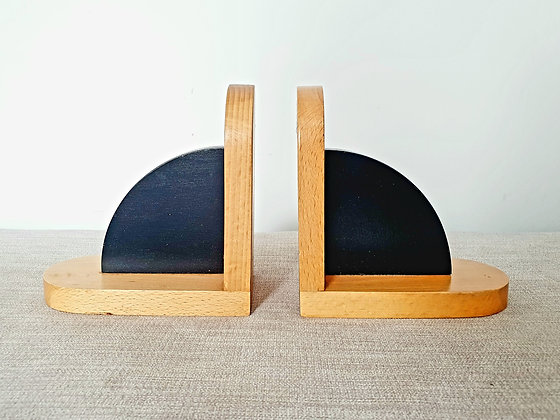 Black & Natural Wood Bookends