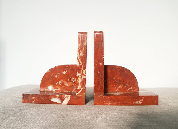 Red Marble Bookends