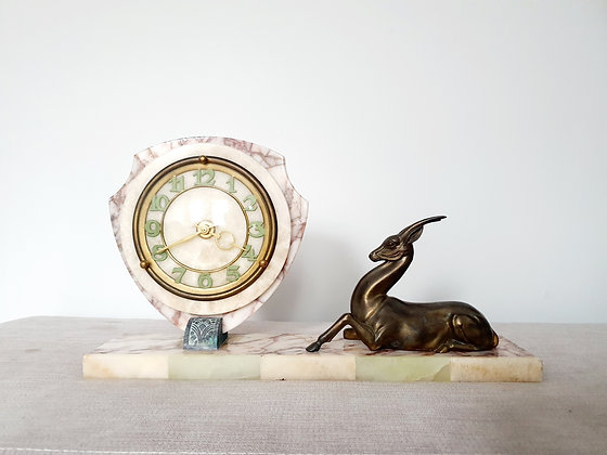 Art Deco Gazelle Marble Clock
