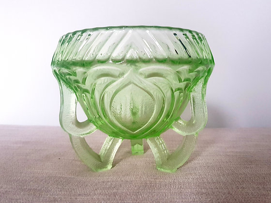 Green Glass Footed Posy Bowl