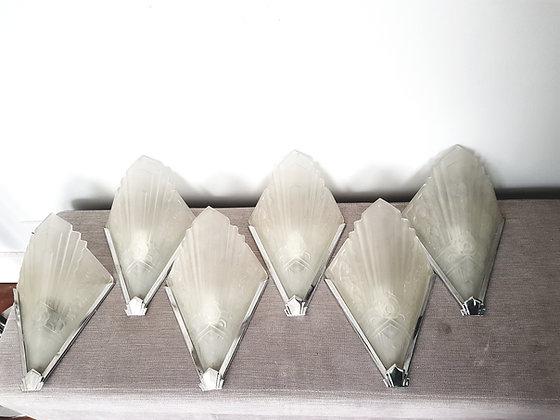 Set of 6 Glass Wall Lights