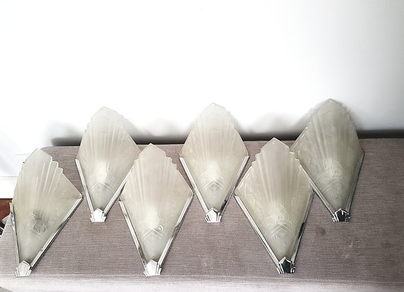 Set of 6 Glass Wall Lights
