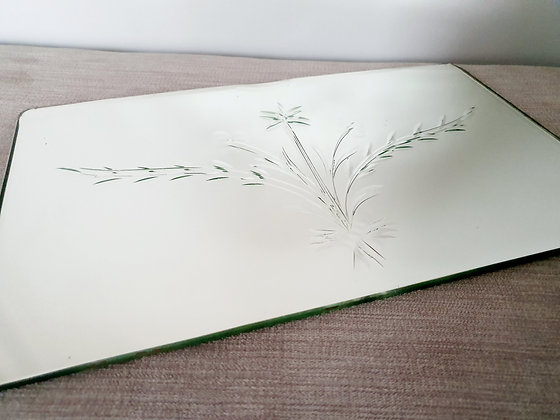 Etched Floral Mirror / Tray