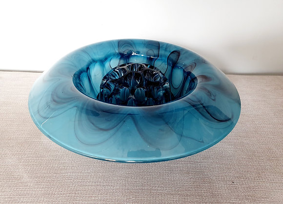 Davidson Blue Cloud Glass Bowl and Frog
