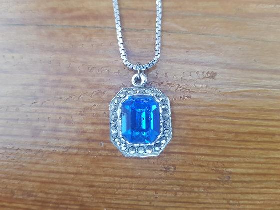 Marcasite & Blue Stone Silver Necklace