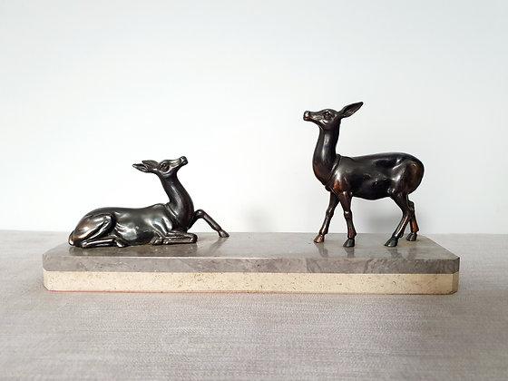 Pair of Deer on Marble Base