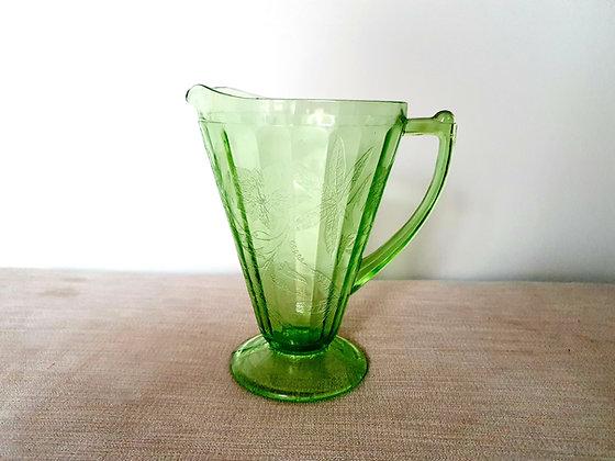 Uranium Glass Floral Jug