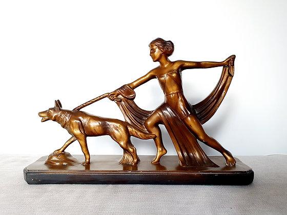 Lady and Dog Figure
