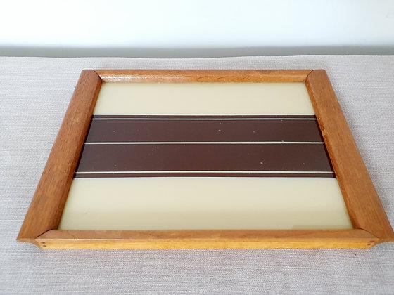 Cream & Maroon Wooden Tray