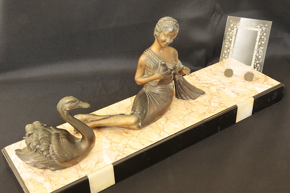 Balleste Spelter Lady and Swan on Marble Base