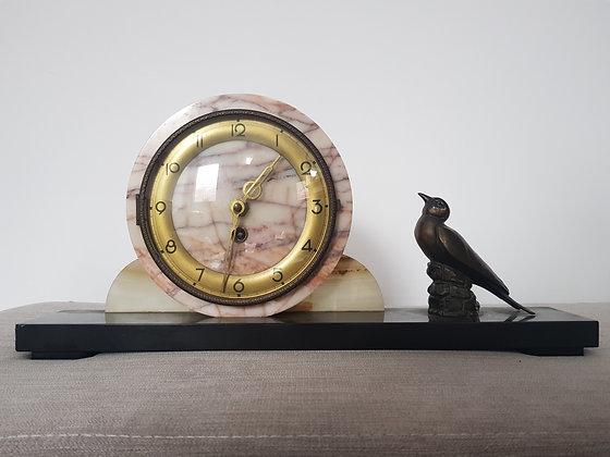 Marble Clock with Spelter Bird