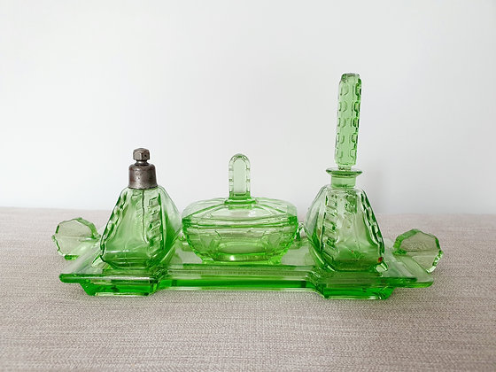Czech Uranium Glass Dressing Table Set