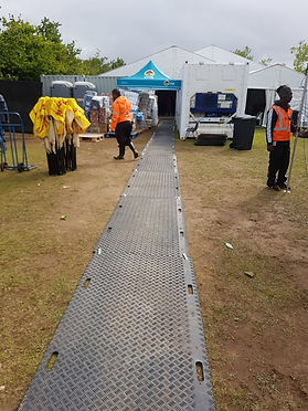 HDPE rocovery mats, Geotracks, Geo Tracks, HDPE temporary roads, event flooring, stadium floor protection, field protection, grass protection, Geotracks, bog mats, geo tracks