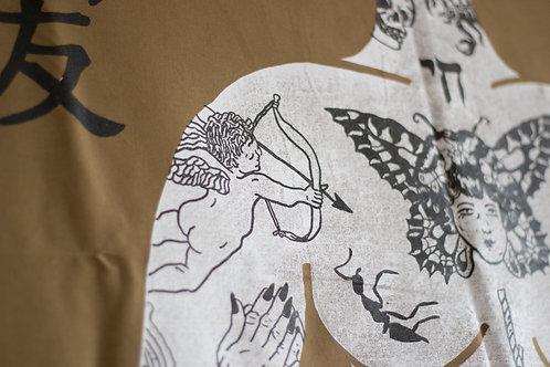 Screen print tattooed lady (front) 100x150cm